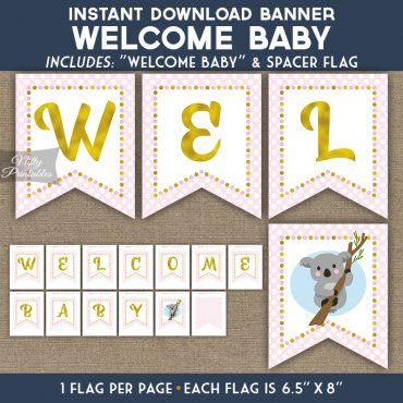 Baby Shower Banner - Koala Pink Gold