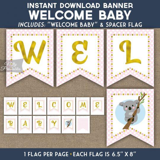 Baby Shower Banner - Koala Pink Gold