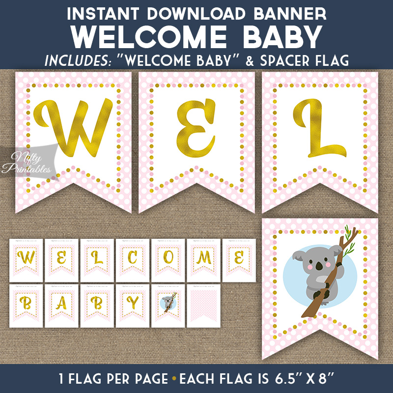 picture about Printable Baby Shower Banners referred to as Kid Shower Banner - Koala Purple Gold