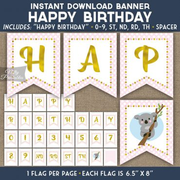 Happy Birthday Banner - Koala Pink Gold