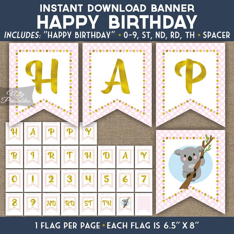 Happy Birthday Banner - Koala Pink Gold - Nifty Printables