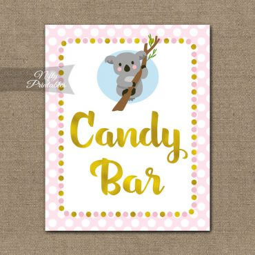 Candy Bar Sign - Koala Pink Gold