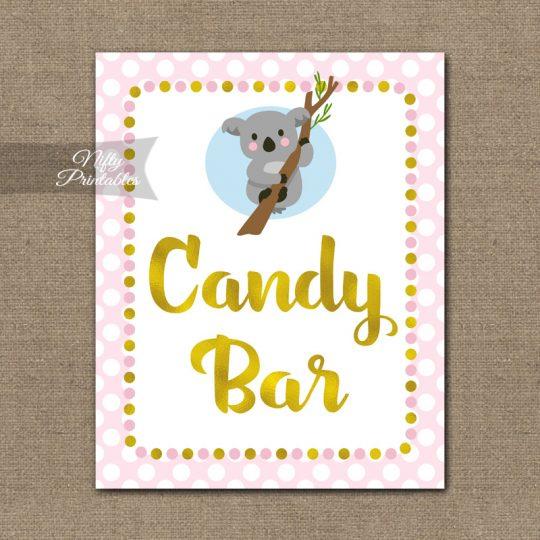 Candy Bar Sign - Koala Pink Gold