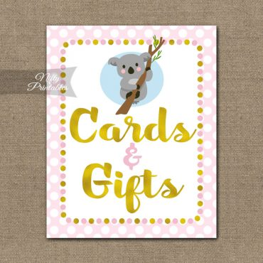 Cards Gifts Sign - Koala Pink Gold