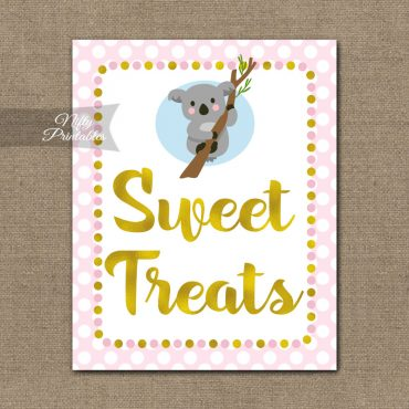 Sweet Treats Dessert Sign - Koala Pink Gold