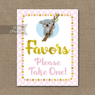Favors Sign - Koala Pink Gold