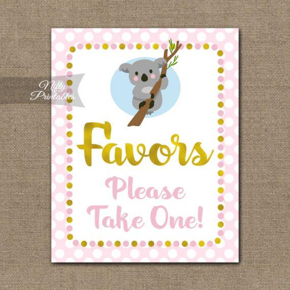 Favors Sign - Koala Pink Gold