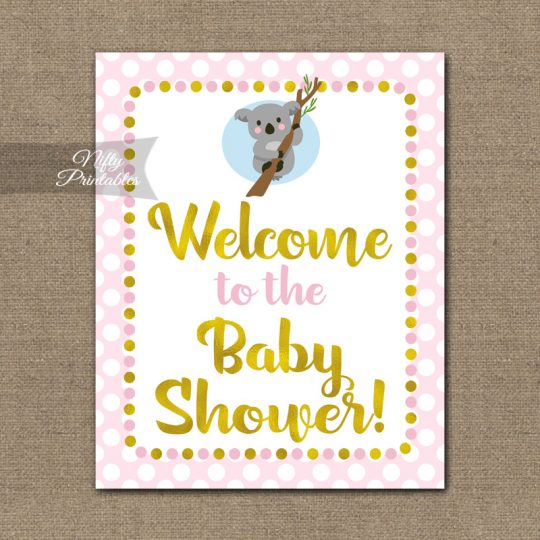 Baby Shower Welcome Sign - Koala Pink Gold