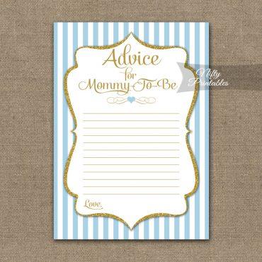 Advice For Mommy Baby Shower Game - Light Blue Gold Elegant