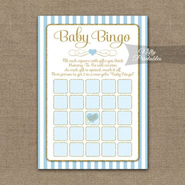Baby Shower Bingo Game - Light Blue Gold Elegant
