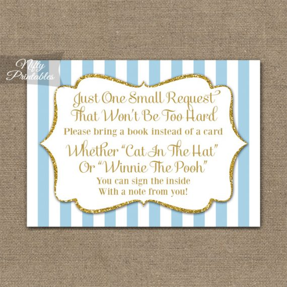 Bring A Book Baby Shower Insert - Light Blue Gold Elegant