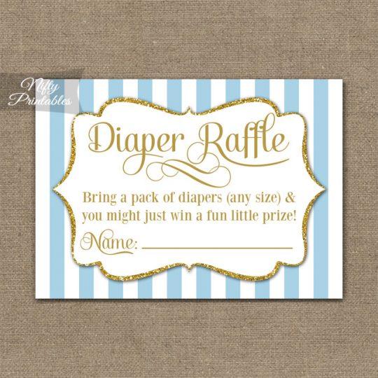 Diaper Raffle Baby Shower - Light Blue Gold Elegant