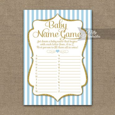 Name Game Baby Shower - Light Blue Gold Elegant