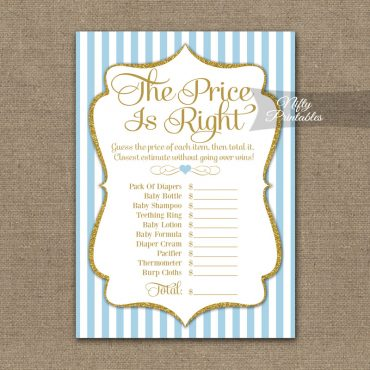 Price Is Right Baby Shower Game - Light Blue Gold Elegant