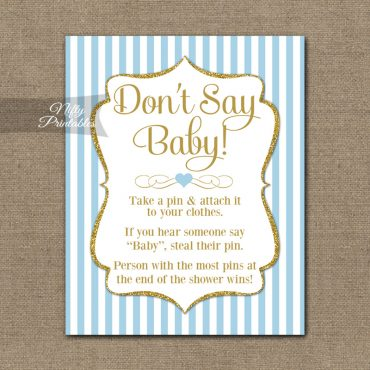 Don't Say Baby Shower Game - Light Blue Gold Elegant