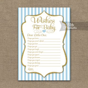 Wishes For Baby Shower Game - Light Blue Gold Elegant