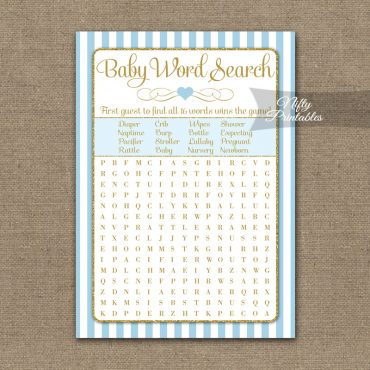 Baby Shower Word Search Game - Light Blue Gold Elegant
