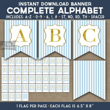 Alphabet Party Banner - Light Blue Gold Stripe