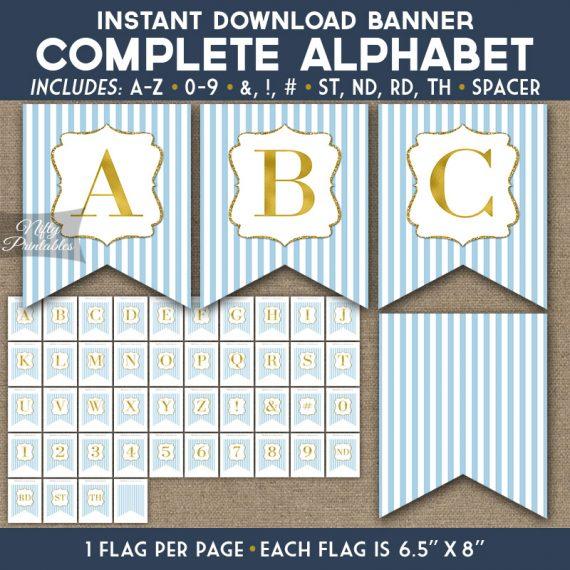 Alphabet Party Banner - Light Blue Gold Stripe