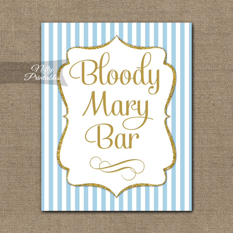 Bloody Mary Bar Sign Light Blue Gold Elegant