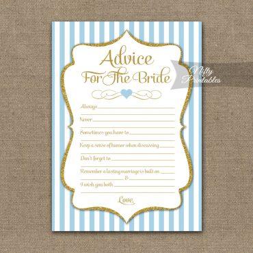 Bridal Shower Advice Cards - Light Blue Gold Elegant