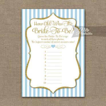 How Old Is The Bride Shower Game - Light Blue Gold Elegant