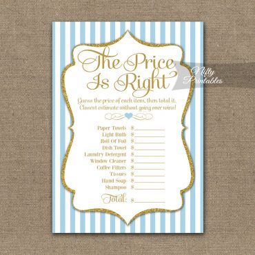 Price Is Right Bridal Shower Game - Light Blue Gold Elegant