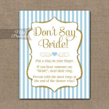 Don't Say Bride Shower Game - Light Blue Gold Elegant