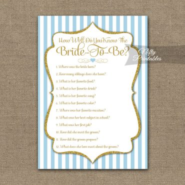 How Well Do You Know The Bride - Light Blue Gold Elegant