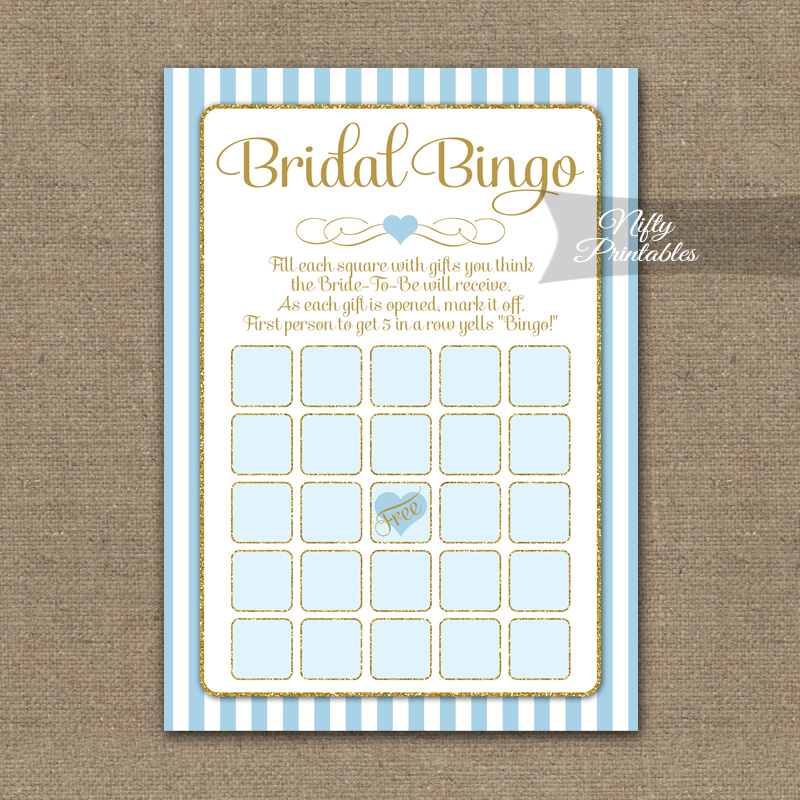 image about Printable Bridal Bingo called Bridal Shower Bingo Video game - Gentle Blue Gold Sophisticated