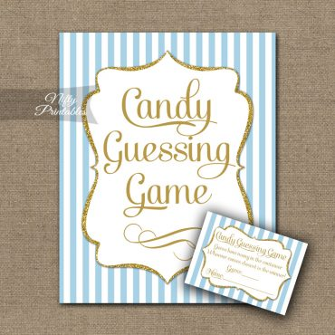 Candy Guessing Game - Light Blue Gold Elegant