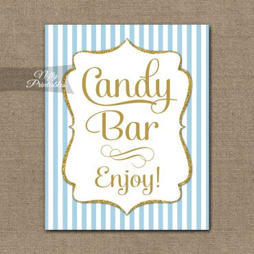 Candy Bar Sign - Light Blue Gold Elegant