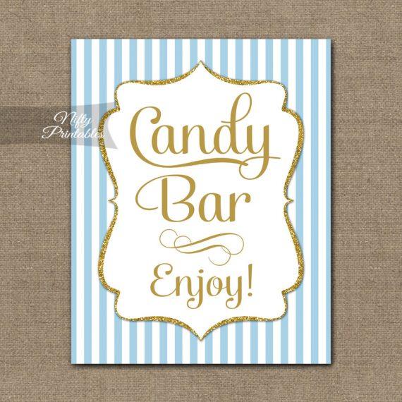Candy Bar Sign - Light Blue Gold Elegant