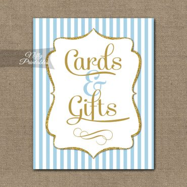 Cards Gifts Sign - Light Blue Gold Elegant