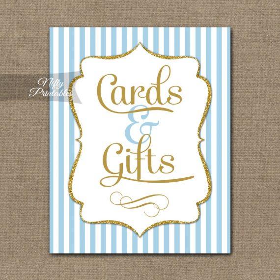 Cards Gifts Sign - Light Blue Gold Elegant