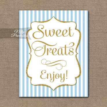 Sweet Treats Dessert Sign - Light Blue Gold Elegant