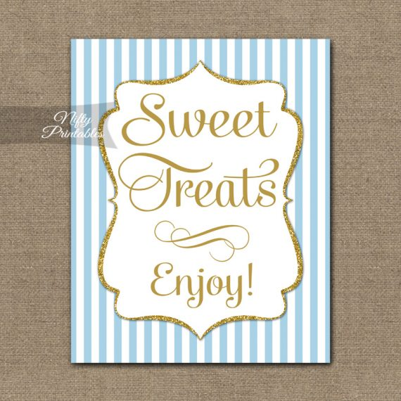 Sweet Treats Dessert Sign - Light Blue Gold Elegant