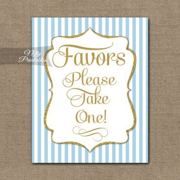 Favors Sign - Light Blue Gold Elegant