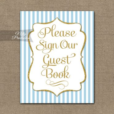Guest Book Sign - Light Blue Gold Elegant