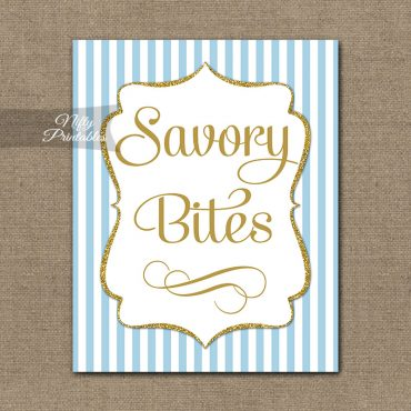 Savory Food Sign - Light Blue Gold Stripe