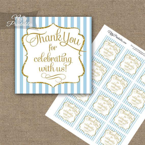 Light Blue White Gold Stripe Thank You Favor Tags
