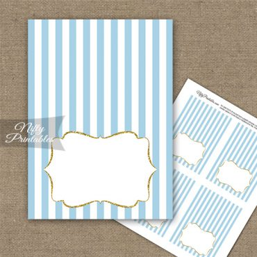 Light Blue Gold Stripe Folded Tent Place Cards