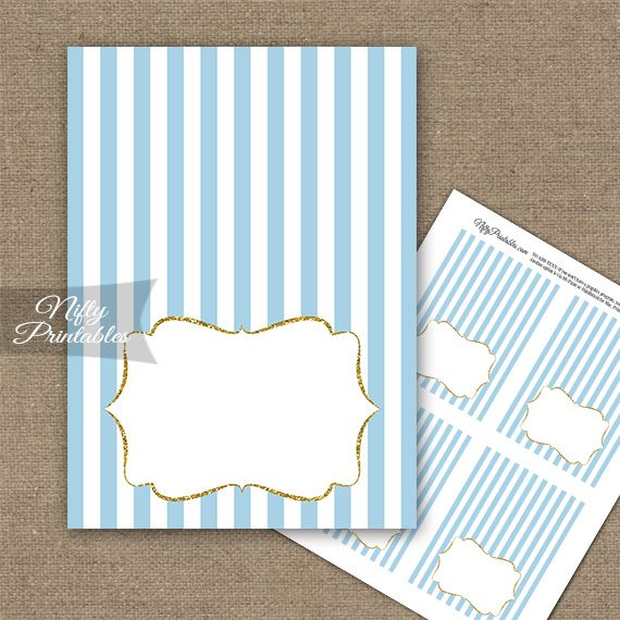 Light Blue Gold Stripe Folded Tent Place Cards