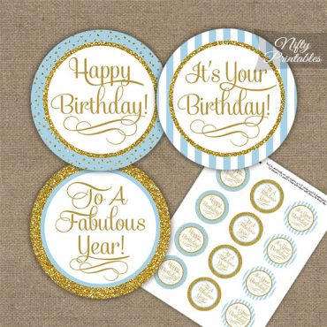 Happy Birthday Cupcake Toppers - Light Blue Gold Stripe