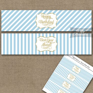 Happy Birthday Water Bottle Labels - Light Blue Gold Stripe