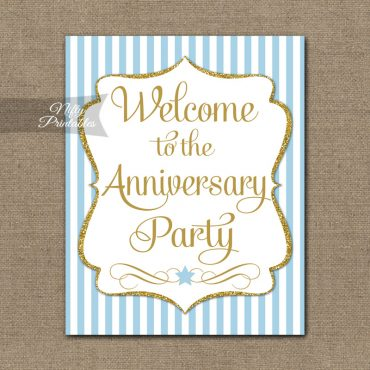 Anniversary Welcome Sign - Light Blue Gold Stripe