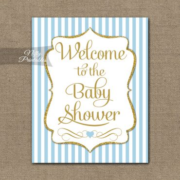 Baby Shower Welcome Sign - Light Blue Gold Stripes