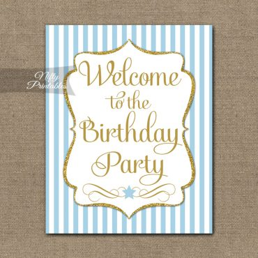 Happy Birthday Welcome Sign - Light Blue Gold Stripe