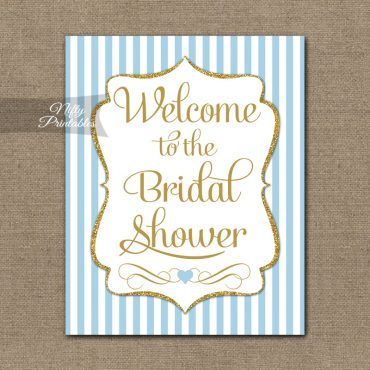 Bridal Shower Welcome Sign - Light Blue Gold Stripes