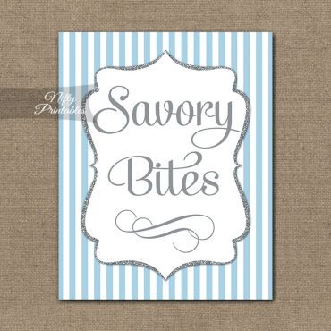 Savory Food Sign - Light Blue Silver Stripe